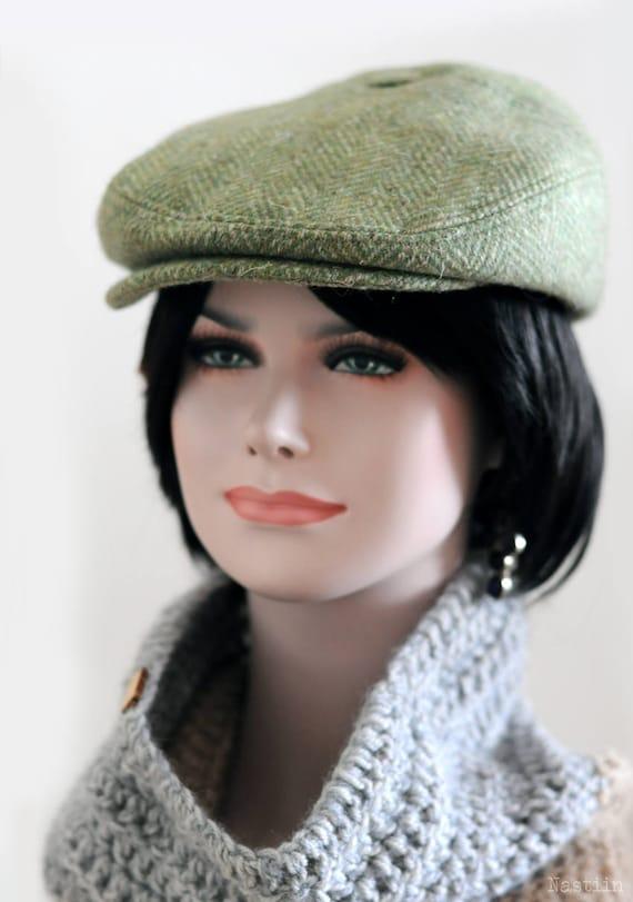 Winter newsboy hat Green wool hat Mens newsboy cap Paperboy  2a72a444ff89