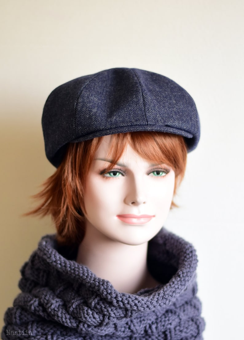 a6a3559c2fbf5 Navy herringbone hat Womens newsboy cap Mens newsboy hat