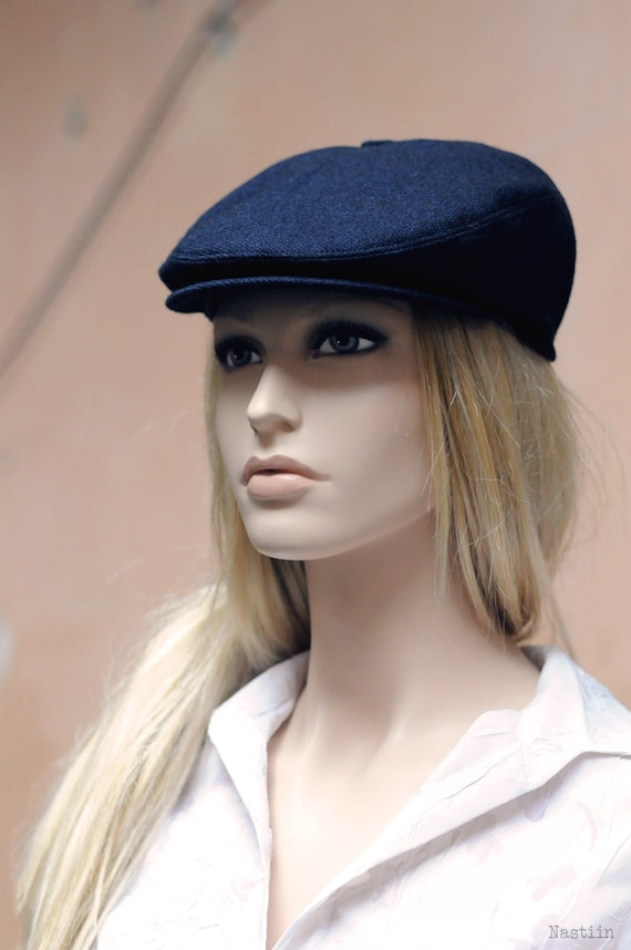 Womens newsboy hat navy hat Mens newsboy cap Flat hat Unisex  c452d23fd14c
