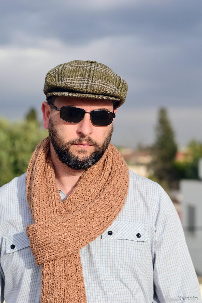 64ca3f62e50bb4 Green tartan flat hat Mens wool hat Womens newsboy cap Spring | Etsy