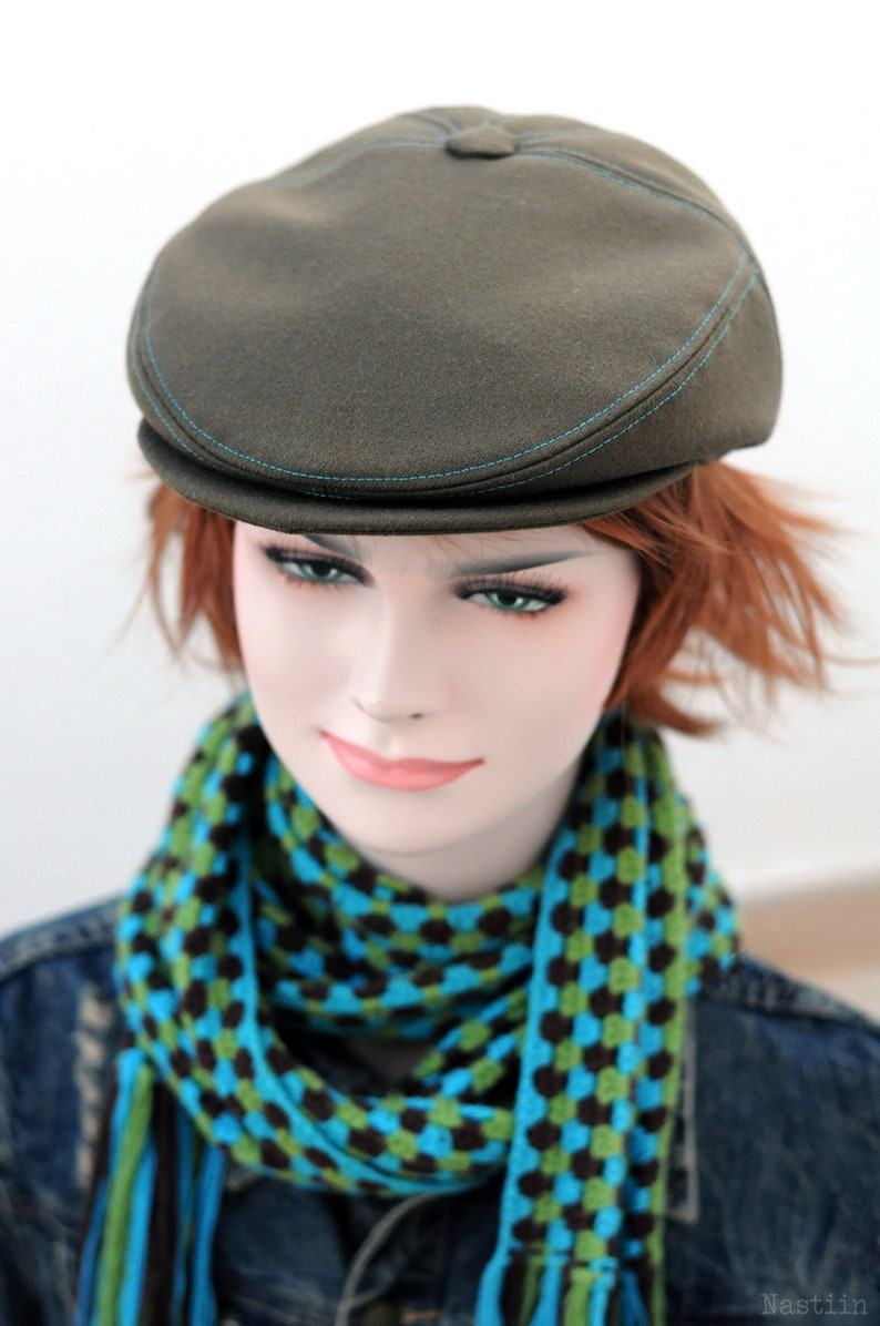 f00f0b62 Army green newsboy hat Womens newsboy cap Mens paperboy hat | Etsy