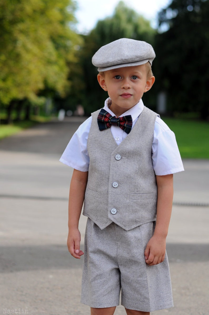 23a54c598 Ring bearer outfit gray Baby boy vest outfit Toddler wedding | Etsy