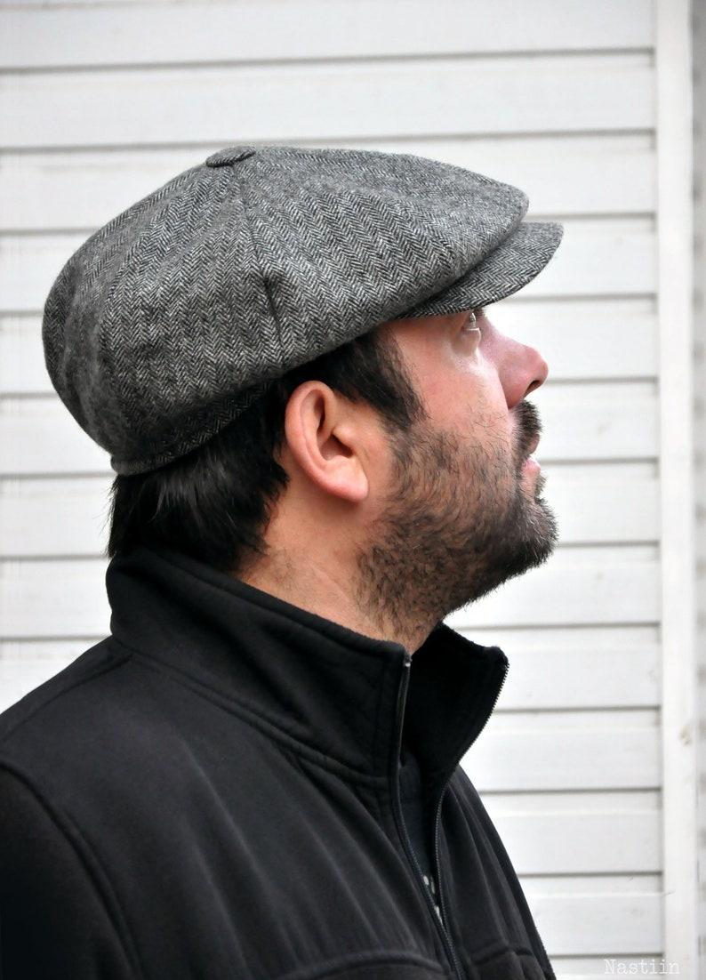 bbe2d5257 Grey herringbone hat Mens newsboy hat Peaky Blinders hat Grey newsboy cap  Womens news boy cap Wool hat Baker boy hat Newspaper boy hat