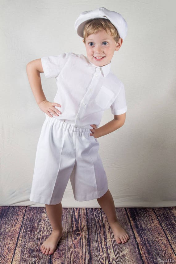 Toddler white dress shirt Short sleeve shirt White shirt Boy baptism outfit Ring bearer clothes Baby christening outfit Infant white shirt
