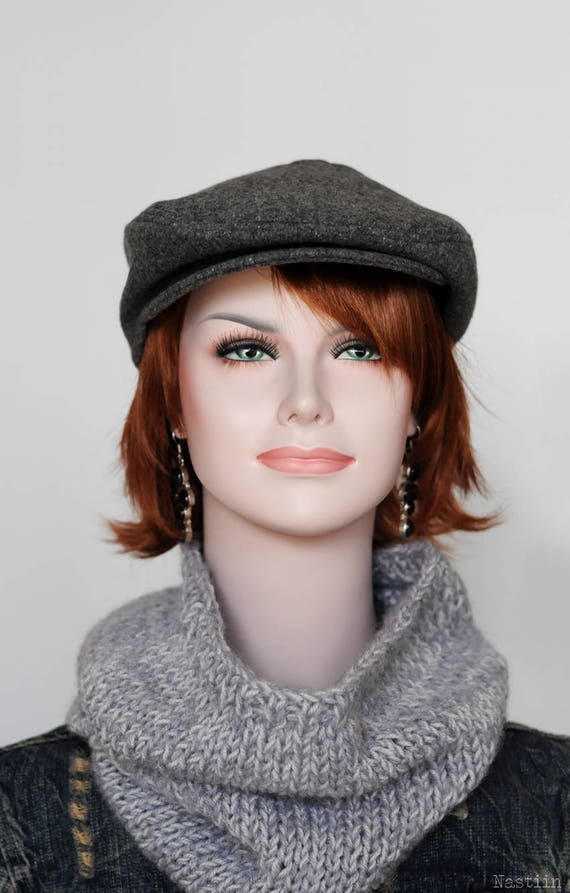 Wool newsboy hat Gray newsboy cap Driver cap Mens newsboy hat  88c6b7171a4c