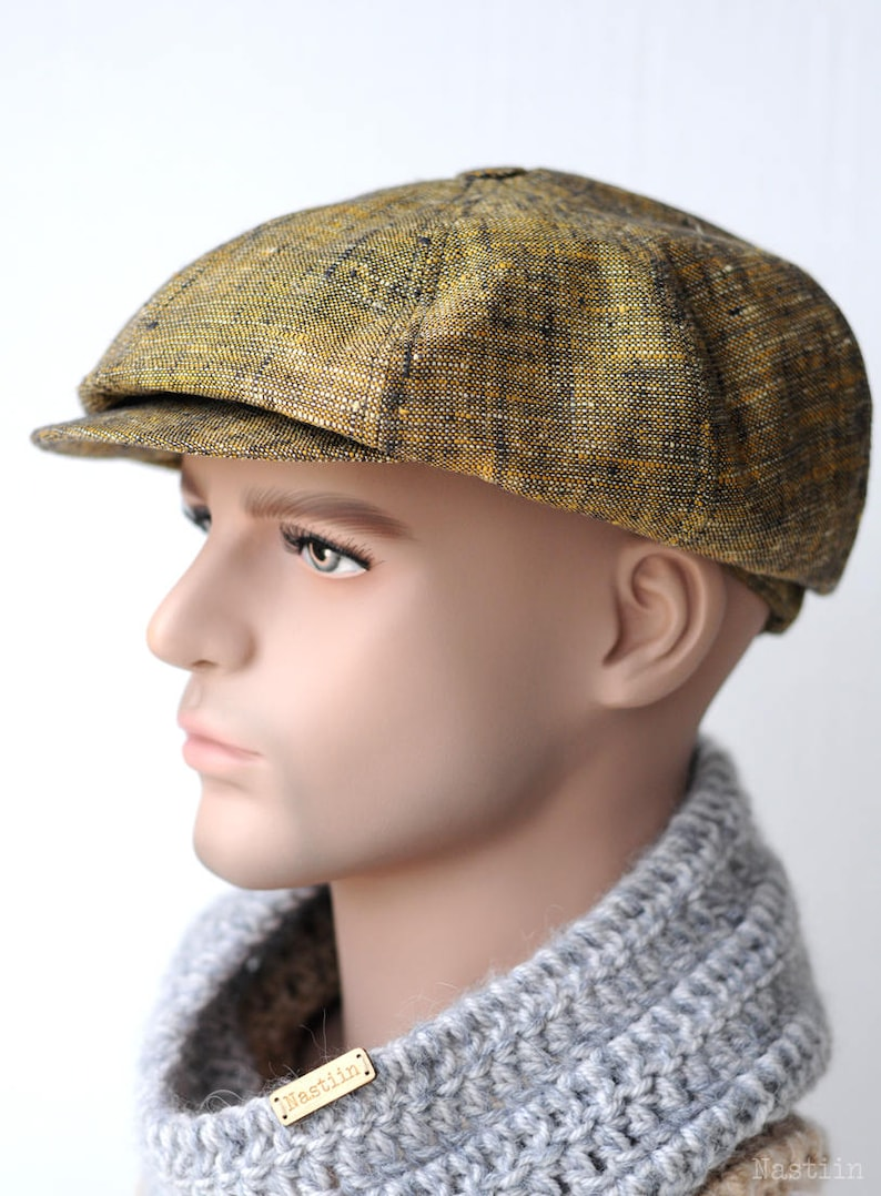 97a48bc17aeaf Yellow newsboy cap Mens newsboy cap Linen cap Womens newsboy