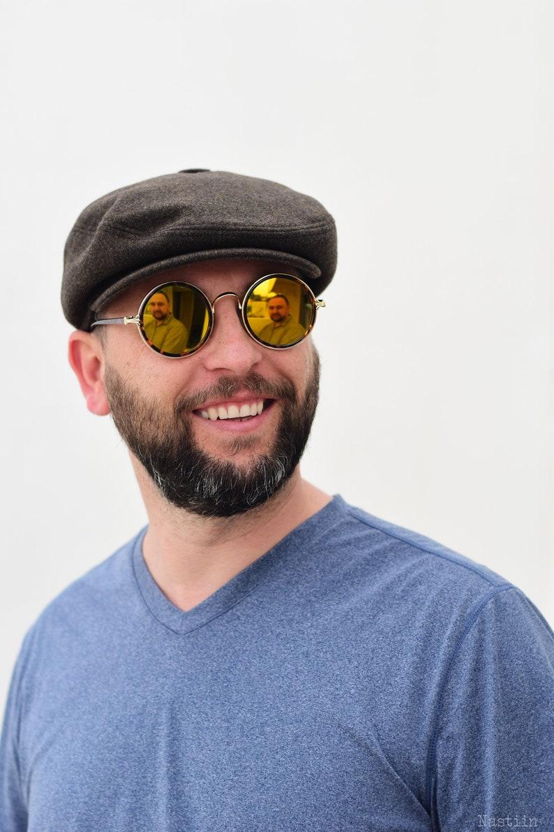 5c4ed4db941628 Dark khaki newsboy hat Mens wool hat Womens newsboy cap Spring | Etsy