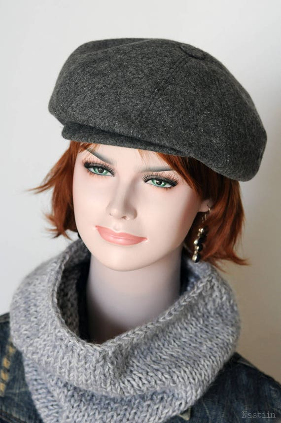 Gray newsboy cap Womens newsboy hat Peaky Blinders hat Autumn  53497a1d9fc