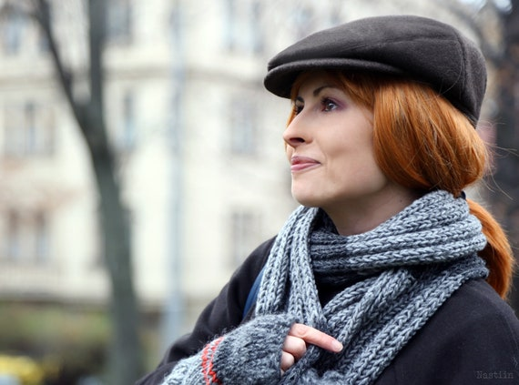 Black wool newsboy hat Women newsboy cap Paperboy cap Womens  806a211b425