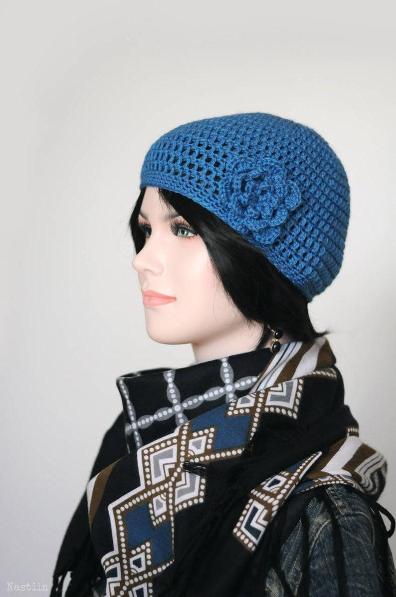 993cf3332da32 Blue crochet hat with flower Crochet cloche hat Blue beanie