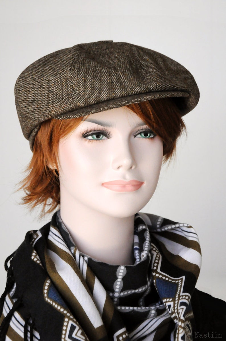 f532ac67cce8d Tan newsboy hat Mens newsboy hat Brown tweed cap Womens