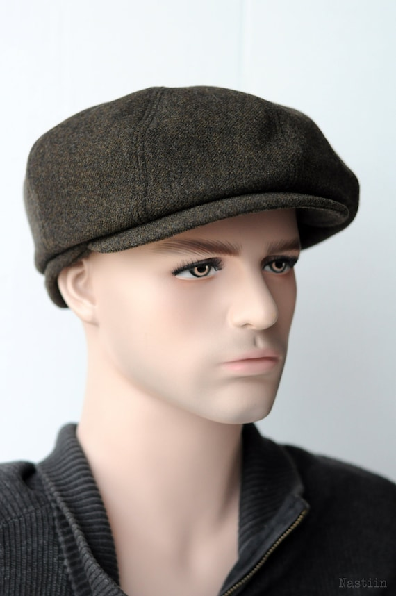Mens newspaper boy hat Wool newsboy cap Khaki newsboy hat  39fda71e135