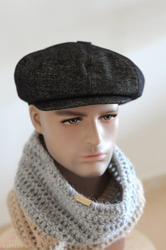 Peaky Blinders hat Black newspaper boy hat Mens newsboy hat  7646267f583