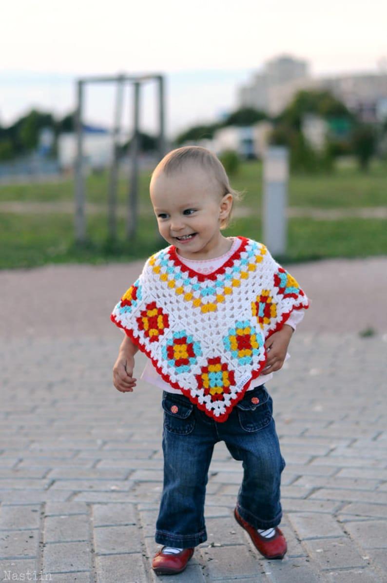 Baby girl crochet poncho Infant crochet cape Toddler crochet poncho Baby  white crochet cape Crochet granny square wrap Baby shower gift girl