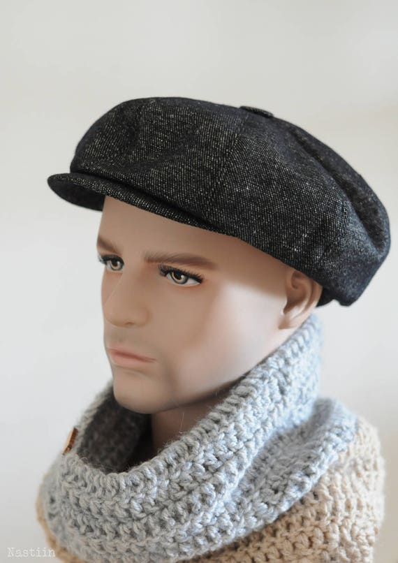 Peaky Blinders hat Black newspaper boy hat Mens newsboy hat  a20cc51ba0a