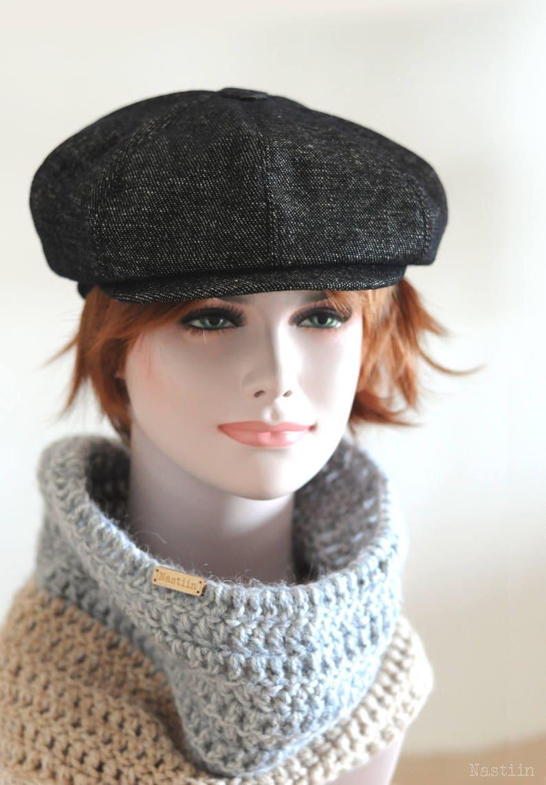 28a7d9a7a0446 Black newspaper boy hat Womens tweed hat Mens newsboy cap