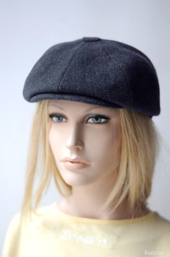 Blue herringbone hat Womens newsboy cap Mens newsboy hat  abdb5f48aac