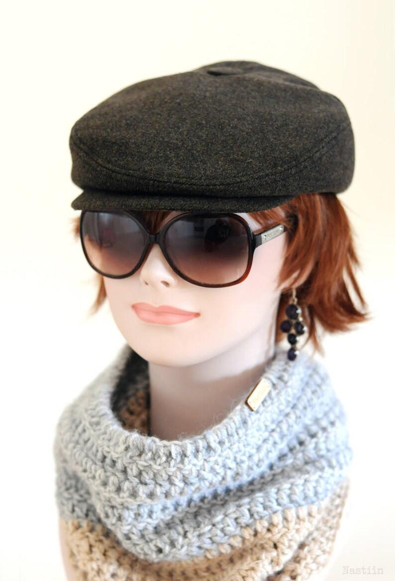 e55601274e9b3 Khaki newsboy hat Green wool hat Womens newsboy cap Winter