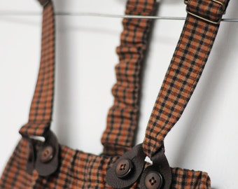 Boy brown suspenders with leather buttonholes Baby shower gift boy brown outfit brown Toddler suspenders 1st birthday boy Infant suspenders