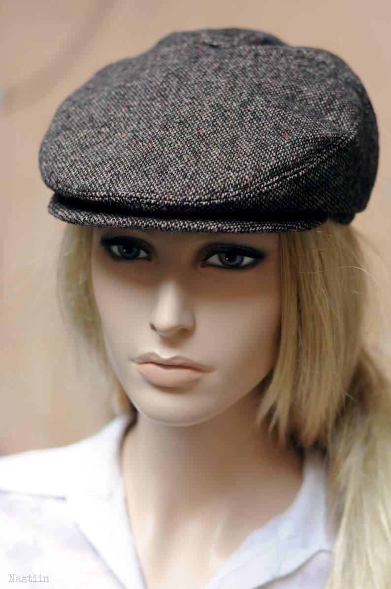 bd06dd5a313 Womens newsboy hat Brown tweed hat Men newsboy cap Wool hat