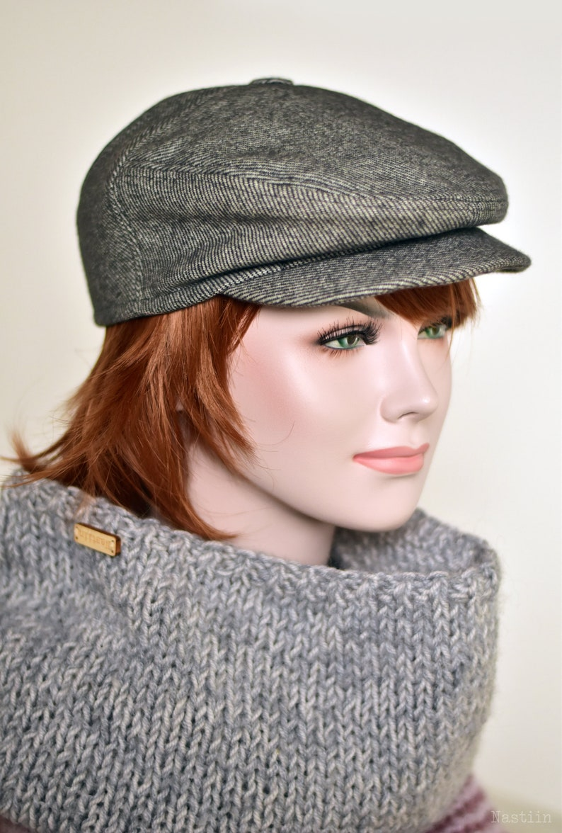 01dc33ef0a4 Womens newsboy hat blueish gray Newspaper boy cap Mens newsboy