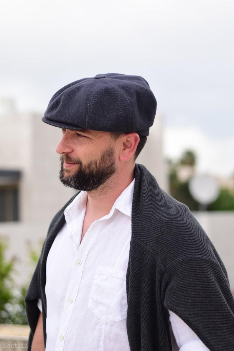 0b2cee13c Ink blue newsboy hat Mens newsboy cap Peaky Blinders hat Womens newsboy hat  Wool hat grey Baker boy hat Driver cap Cabbie hat