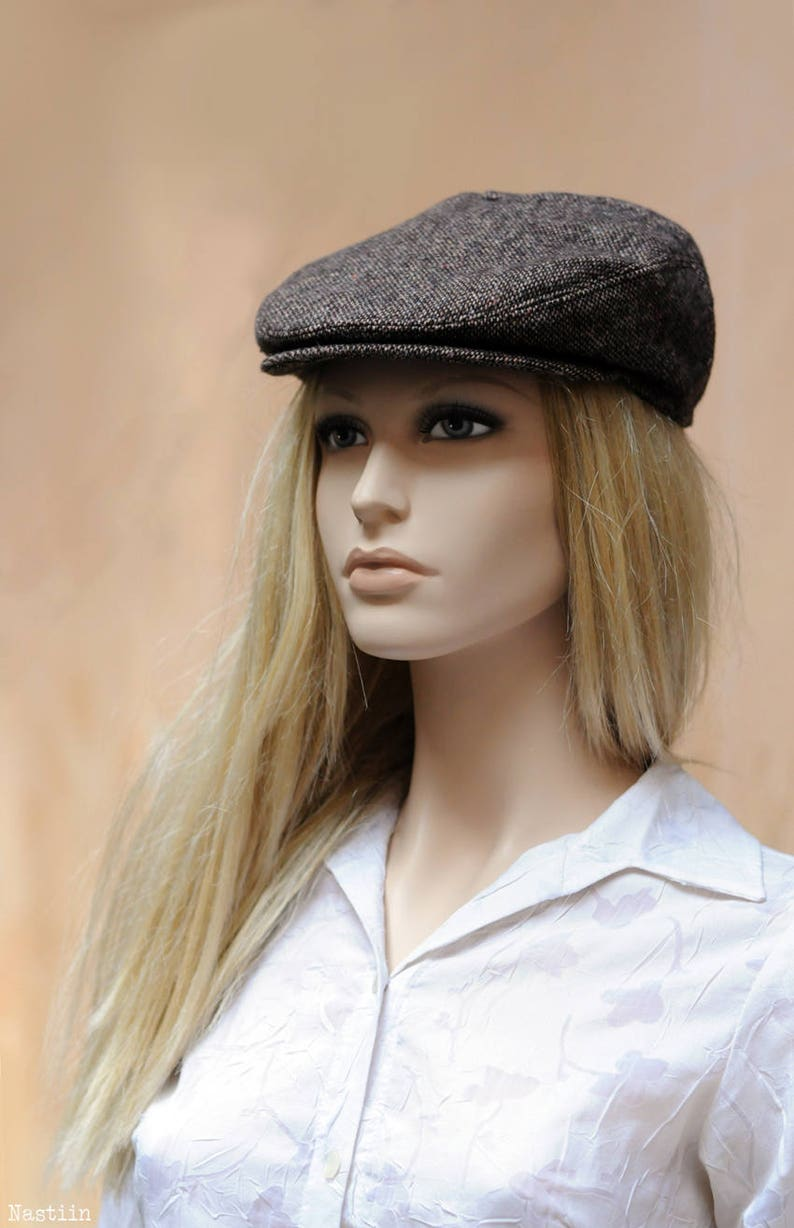 46e6bfce41f50 Womens newsboy hat Brown tweed hat Men newsboy cap Wool hat