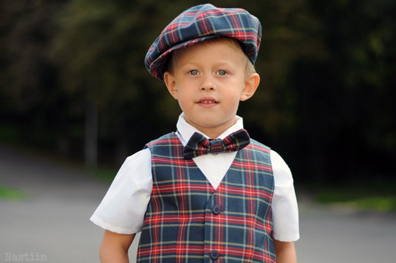 0791946b0 Boys blue tartan outfit Toddler boy plaid vest hat and bow tie