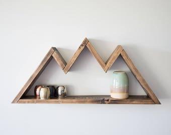 Wood Mountain Shelf, Geometric Wall Decor, Geometric Nursery, Bedroom Decor, Travel Present, Housewarming Gift, Wanderlust, Gift for Mom