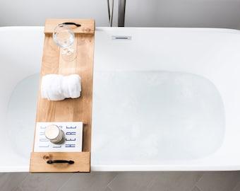Bathtub Caddy, Bath Board Tray, Farmhouse Bathroom Accessories, Washroom Decor, Mother's Day Gift for Her, Wood Bath Shelf, Present for Mom