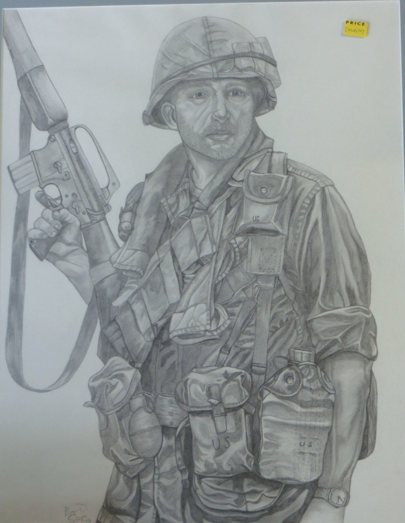 Pencil drawing of a soldier etsy