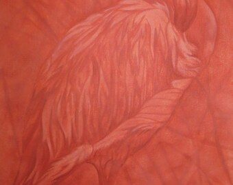 Monotone flamingo painting