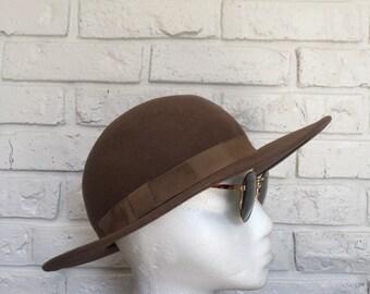 Womens Vintage Tan Felt Bowler Hat 51ea21702707