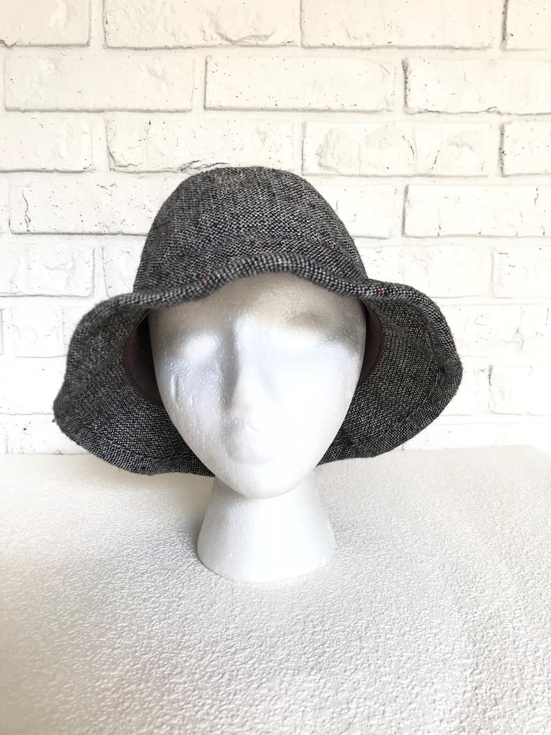 b8108e77 Vintage Black and White Tweed Bucket Hat | Etsy