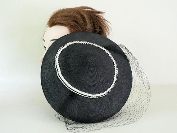 Womens Vintage 1950s Black Fascinator Hat - image 4
