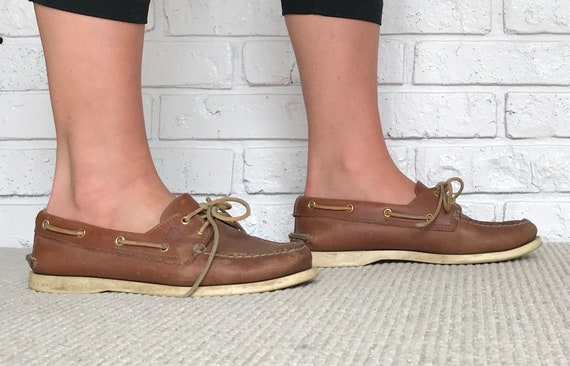size 8 Tan Leather Sperry Loafers | Etsy