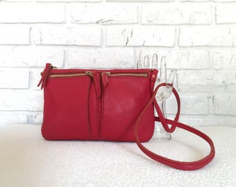 Vintage Fossil Red Leather Cross body Purse
