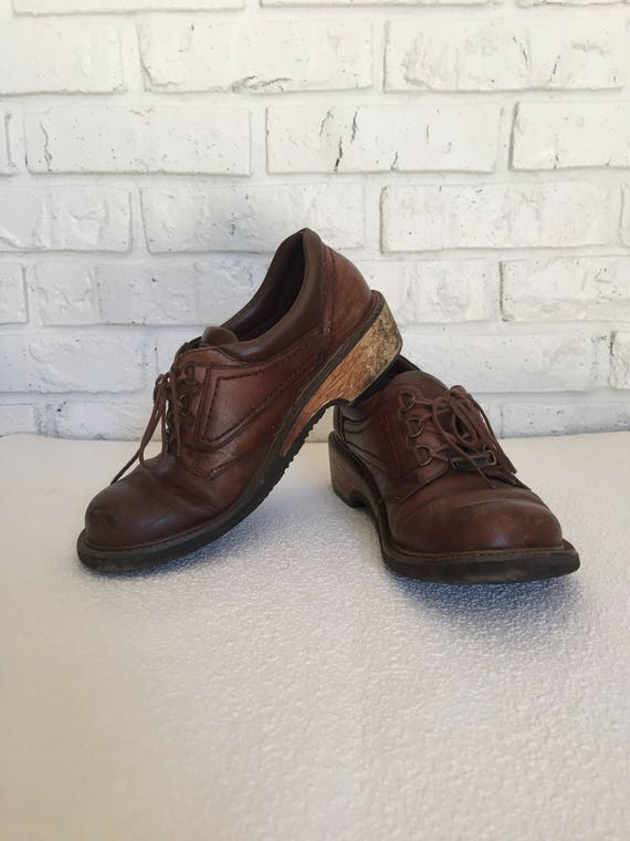 Vintage Womens Size 8 Brown Leather Oxfords Etsy