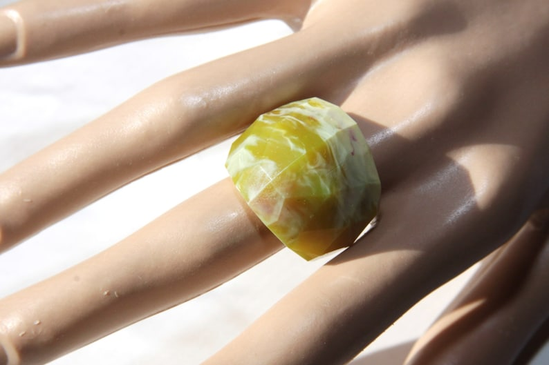 Size 8.75.Good gift,party. Cocktail,party Handmade Bold Faceted  resin Ring