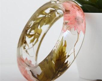 SALE 60% Handmade Real flower Botanical jewellery resin bangle bracelet.{12}Size 64mm,height 23mm.Free USA shipping!