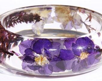 SALE 60% Handmade Real flower Botanical jewellery resin bangle bracelet.{B-006}Size 58mm,height 23mm.Free USA shipping!