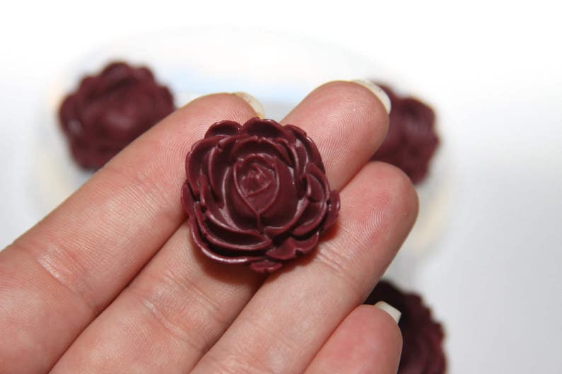 Resin Flower Rose Beads Mold made from Clear Silicone 24mm