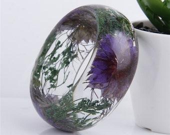 SALE 60% Handmade Real flower Botanical jewellery resin bangle bracelet.{58}Size 64mm,height 23mm.Free USA shipping!