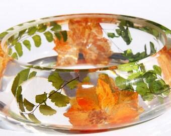 SALE 60% Handmade Real flower Botanical jewellery resin bangle bracelet.{B-003}Size 58mm,height 23mm.Free USA shipping!