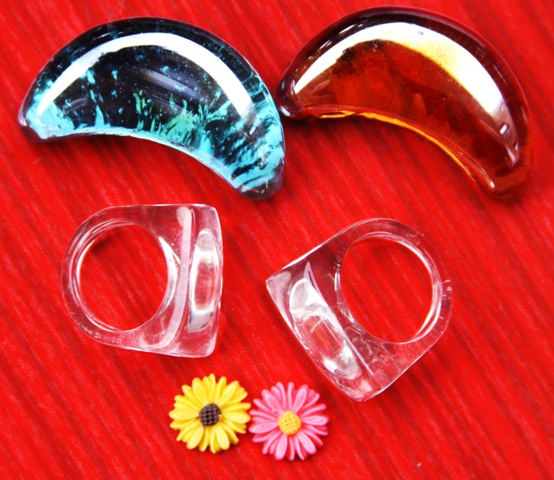 Multi-Clear-silicone Ring Molds 2pc rings size 6.5 FREE USA shipping!!! 8+2pc pendants 40mmX15mm,+2 flower for stud earrings. A41