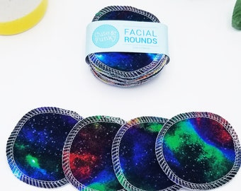 Makeup remover pads, 20 Rainbow Galaxy Eco-Friendly Zero waste Beauty, Reusable Cotton Pads, Cotton Rounds, Facial Rounds