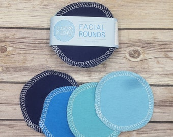 Reusable Cotton Rounds, 20 Blue Variety Makeup Removers, Washable Facial Toner Pads, Facial rounds