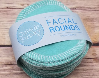 Reusable Makeup removers, 20 Turquoise Cosmetic Pads, Washable Facial Rounds, Reusable Cotton Rounds, Flannel Toner Pads