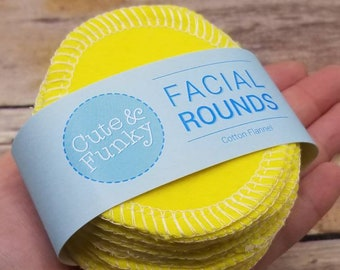 Reusable Cosmetic Round, 20 Bright yellow Makeup Removers, Facial Rounds, Washable Makeup Pads