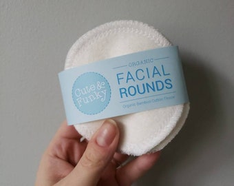 Washable Facial Rounds, 50 Washable Organic Bamboo Cotton Makeup Remover Pads, Facial Cleansing Rounds, Facial Poufs, Toner Pads